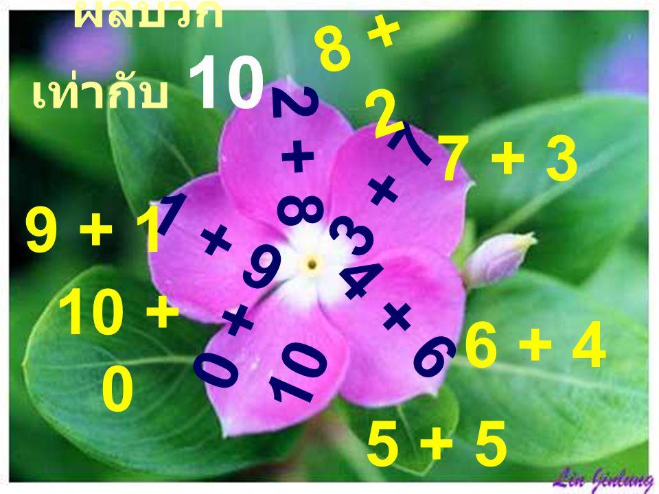 ผลบวกเท่ากับ 10 8 + 2 2 + 8 7 + 3 3 + 7 9 + 1 1 + 9 4 + 6 6 + 4 10 + 0 0 + 10 5 + 5