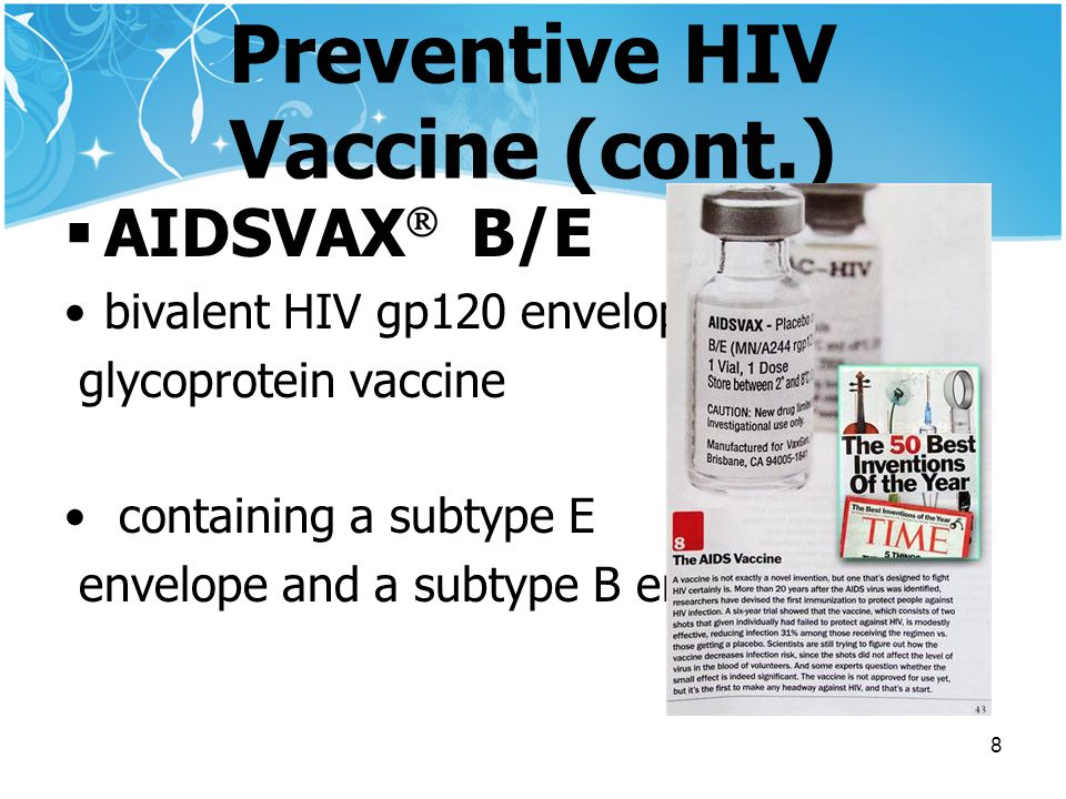 Preventive HIV Vaccine (cont.)