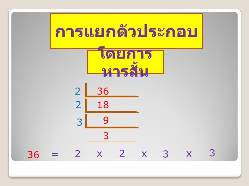 การแยกตัวประกอบ โดยการหารสั้น 2 36 2 18 9 3 3 36 = 2 x 2 x 3 x 3