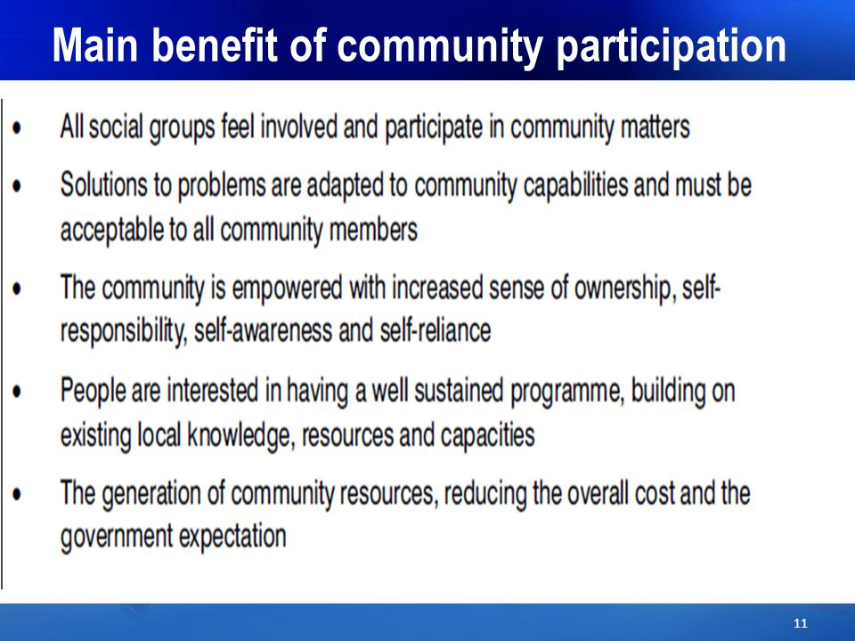 Main benefit of community participation