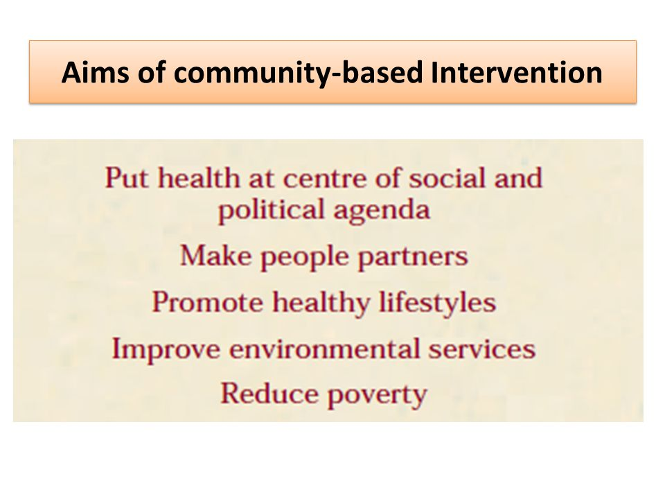 Aims of community-based Intervention