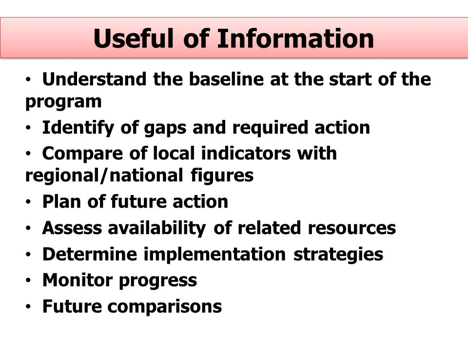 Useful of Information Understand the baseline at the start of the program. Identify of gaps and required action.