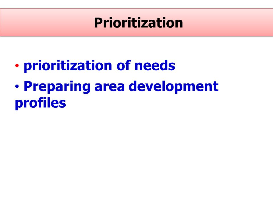 Prioritization prioritization of needs Preparing area development profiles