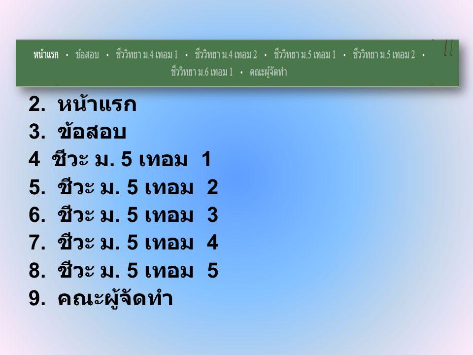 2. หน้าแรก 3. ข้อสอบ. 4 ชีวะ ม. 5 เทอม 1. 5. ชีวะ ม. 5 เทอม 2. 6. ชีวะ ม. 5 เทอม 3. 7. ชีวะ ม. 5 เทอม 4.