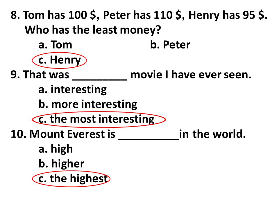 8. Tom has 100 $, Peter has 110 $, Henry has 95 $.