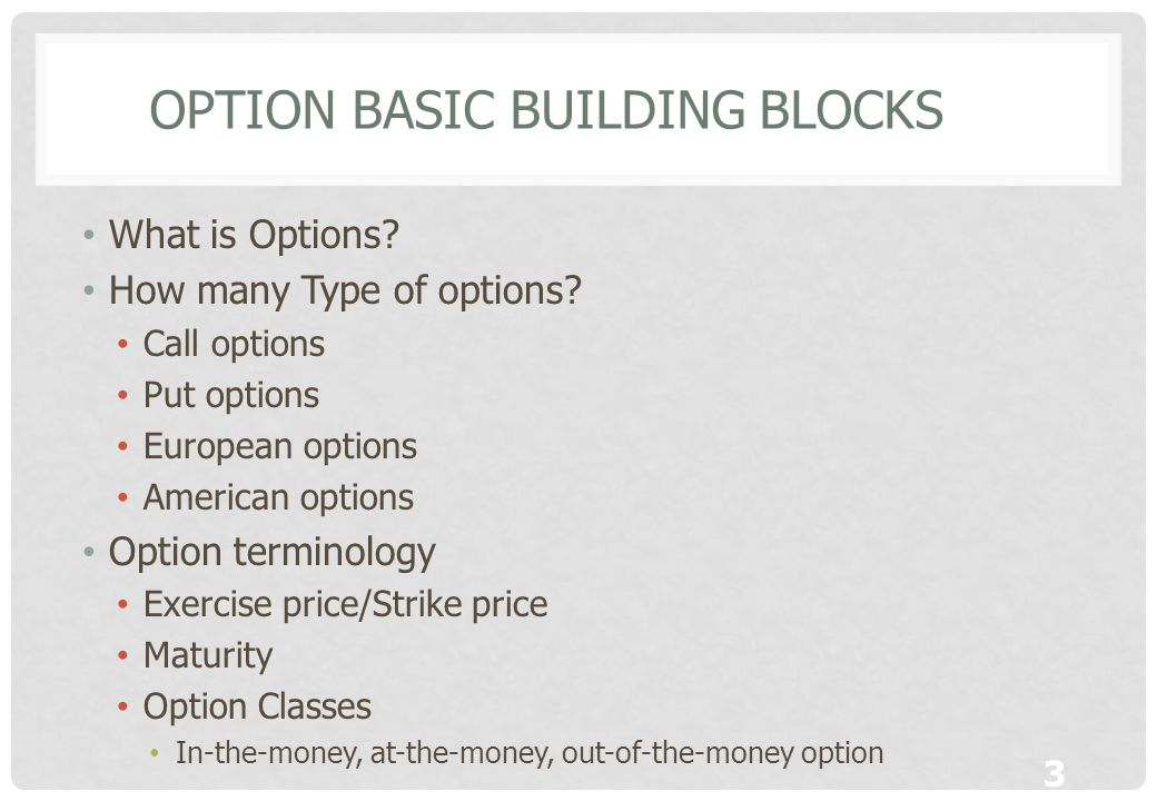 Option basic building Blocks