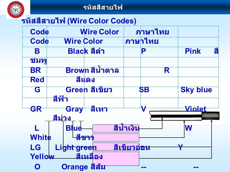 รหัสสีสายไฟ (Wire Color Codes)