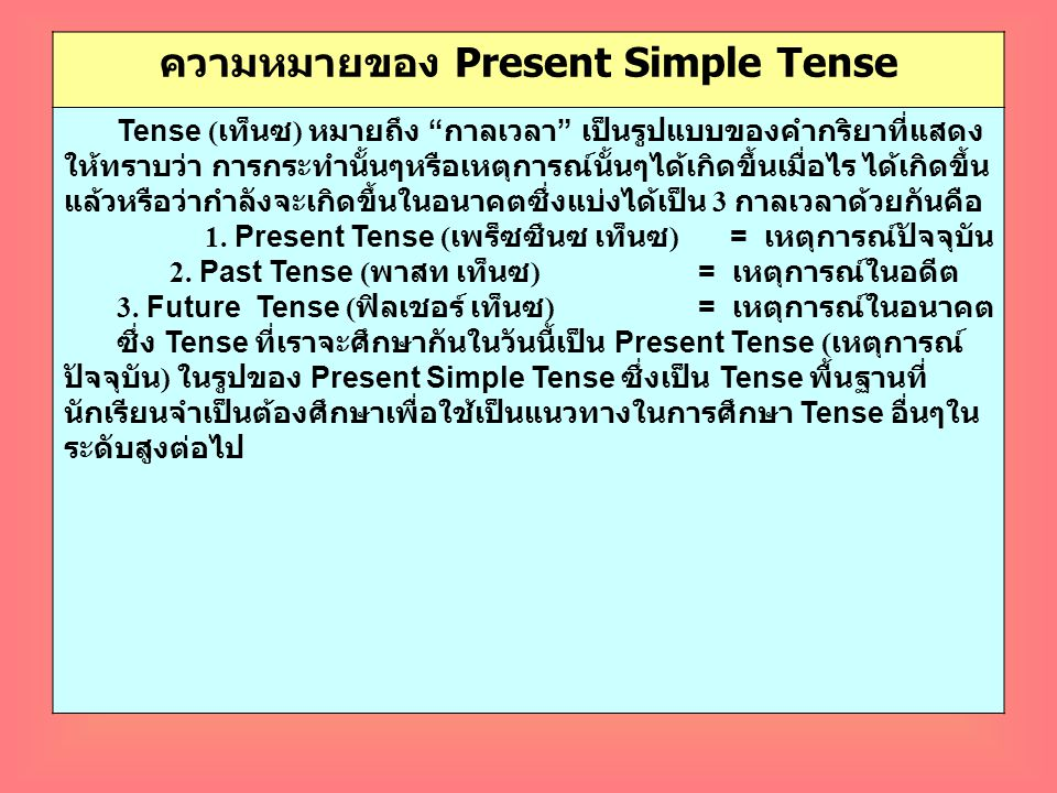 ความหมายของ Present Simple Tense