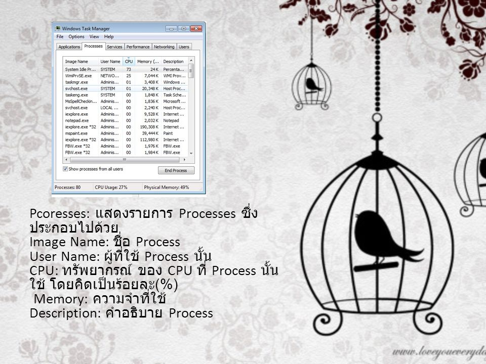 Pcoresses: แสดงรายการ Processes ซึ่งประกอบไปด้วย Image Name: ชื่อ Process User Name: ผู้ที่ใช้ Process นั้น CPU: ทรัพยากรณ์ ของ CPU ที่ Process นั้นใช้ โดยคิดเป็นร้อยละ(%) Memory: ความจำที่ใช้ Description: คำอธิบาย Process