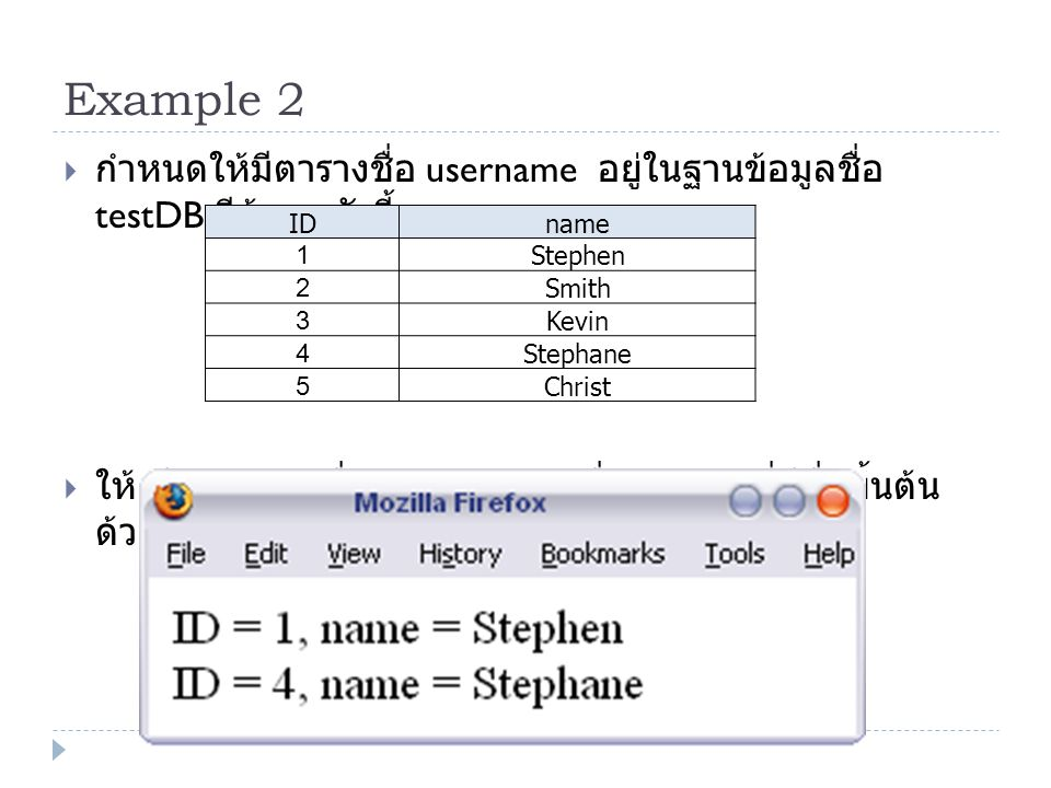 Example 2 กำหนดให้มีตารางชื่อ username อยู่ในฐานข้อมูลชื่อ testDB มีข้อมูลดังนี้ ให้เขียน PHP เพื่อแสดง ID และชื่อ ของคนที่มีชื่อขึ้นต้นด้วย St