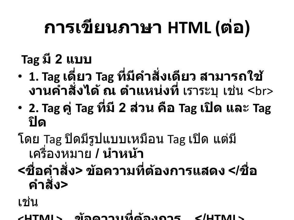 การเขียนภาษา HTML (ต่่อ)