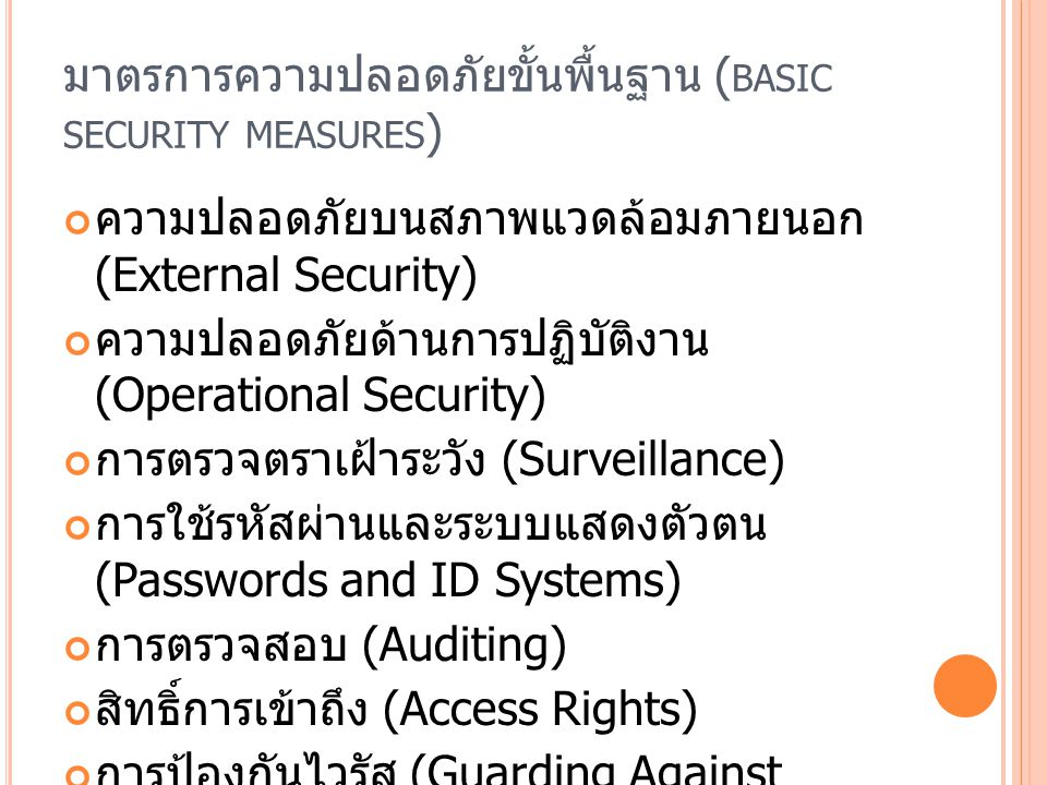 มาตรการความปลอดภัยขั้นพื้นฐาน (basic security measures)