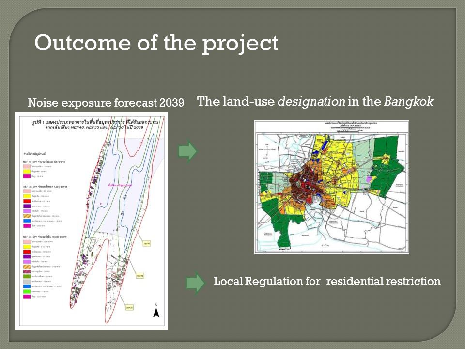 Outcome of the project The land-use designation in the Bangkok