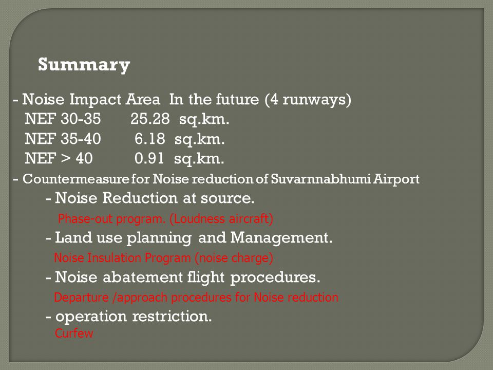 Summary - Noise Impact Area In the future (4 runways)