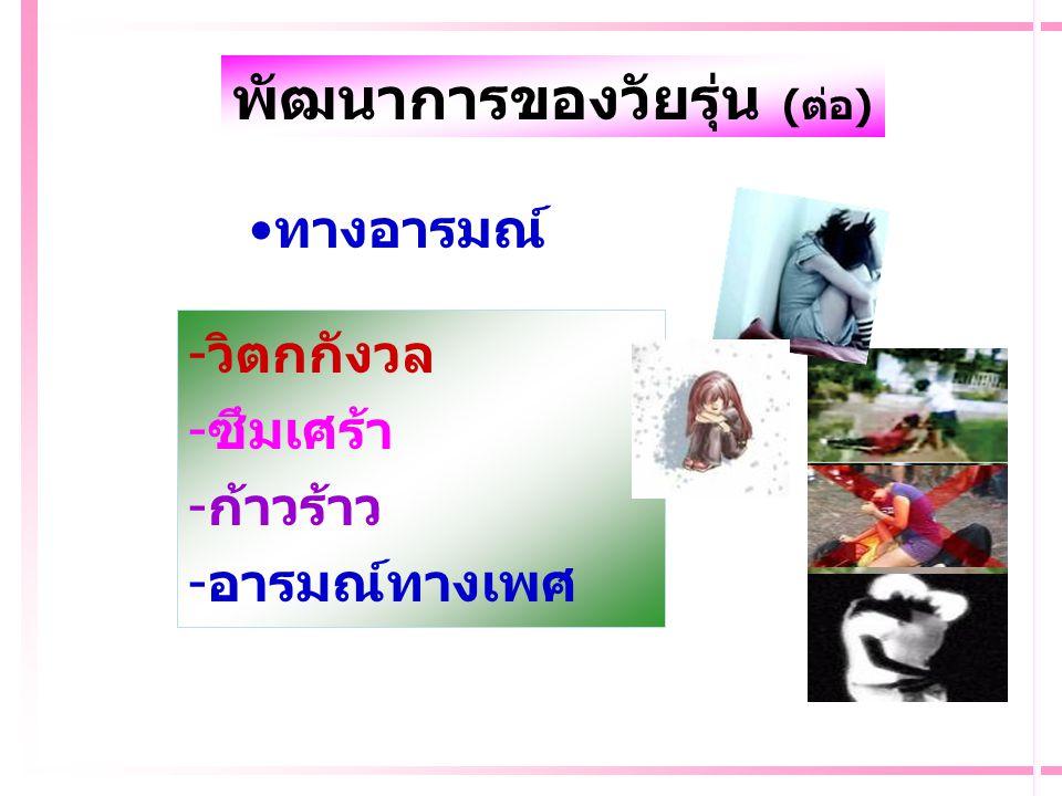 พัฒนาการของวัยรุ่น (ต่อ)