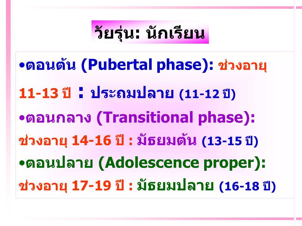 วัยรุ่น: นักเรียน ตอนต้น (Pubertal phase): ช่วงอายุ 11-13 ปี : ประถมปลาย (11-12 ปี) ตอนกลาง (Transitional phase):