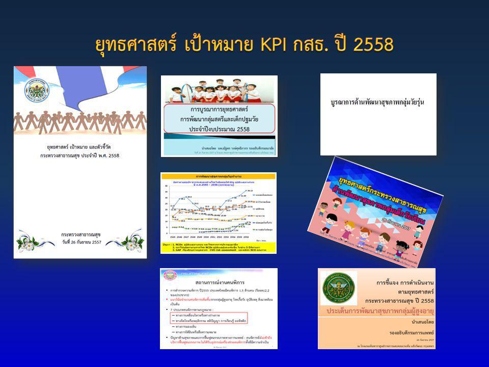 ยุทธศาสตร์ เป้าหมาย KPI กสธ. ปี 2558