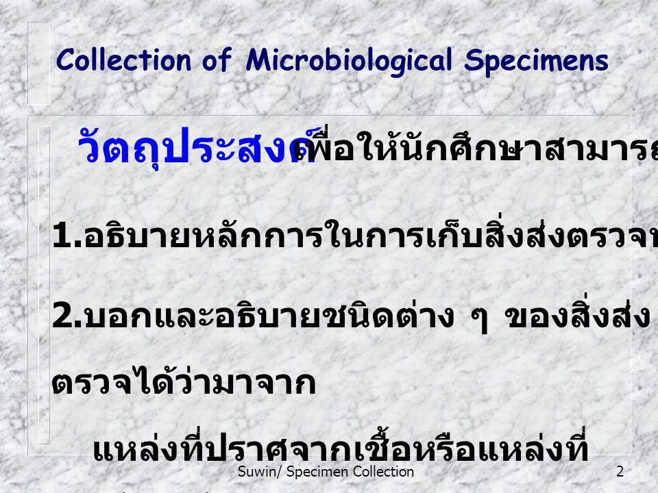 Suwin/ Specimen Collection