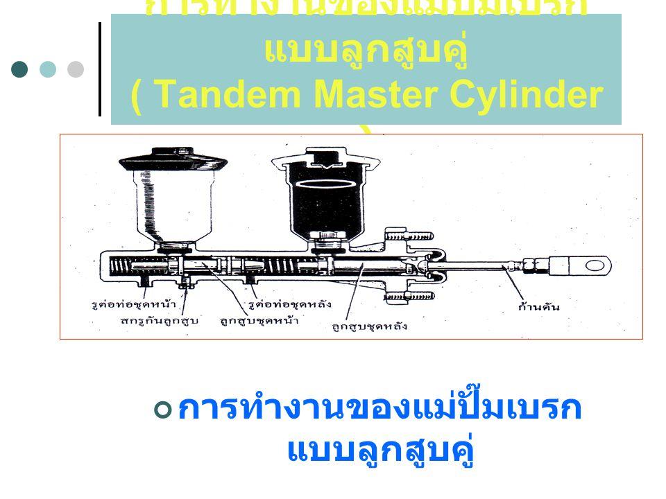 การทำงานของแม่ปั๊มเบรกแบบลูกสูบคู่ ( Tandem Master Cylinder )