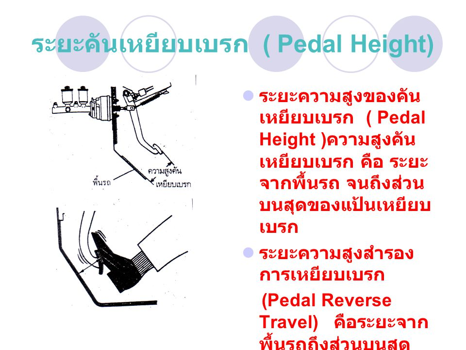 ระยะคันเหยียบเบรก ( Pedal Height)