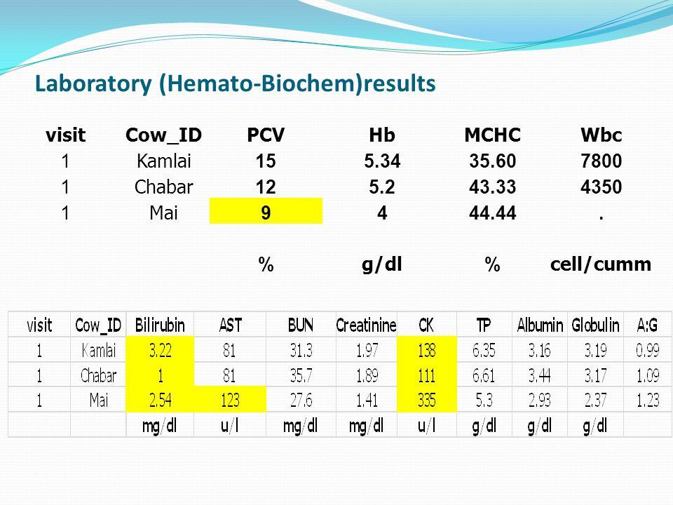 Laboratory (Hemato-Biochem)results