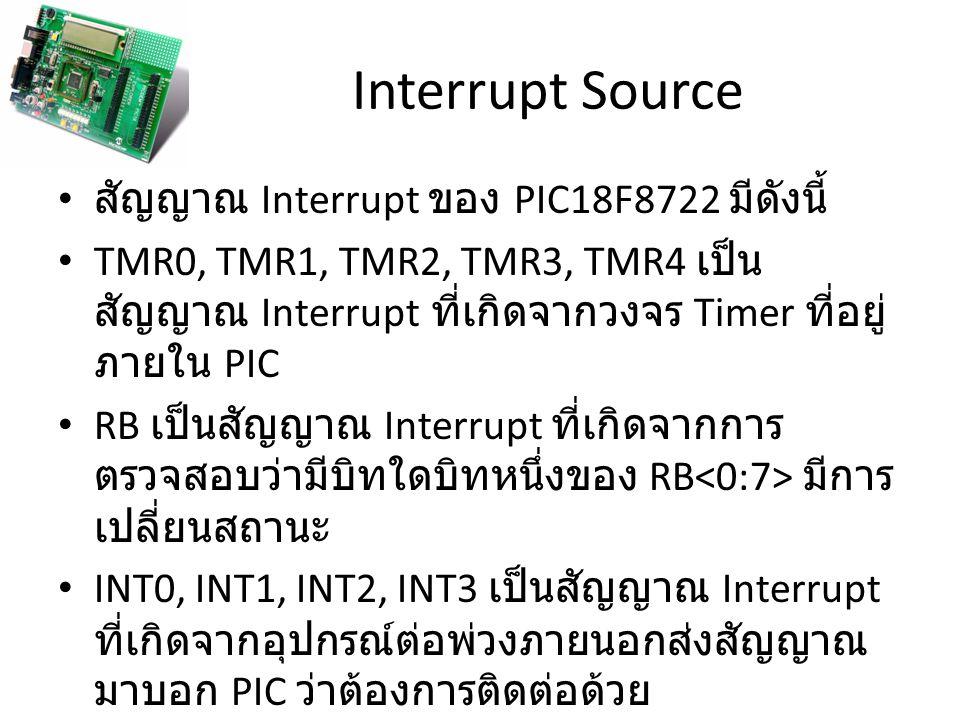 Interrupt Source สัญญาณ Interrupt ของ PIC18F8722 มีดังนี้