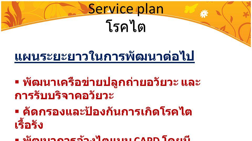 Service plan โรคไต แผนระยะยาวในการพัฒนาต่อไป