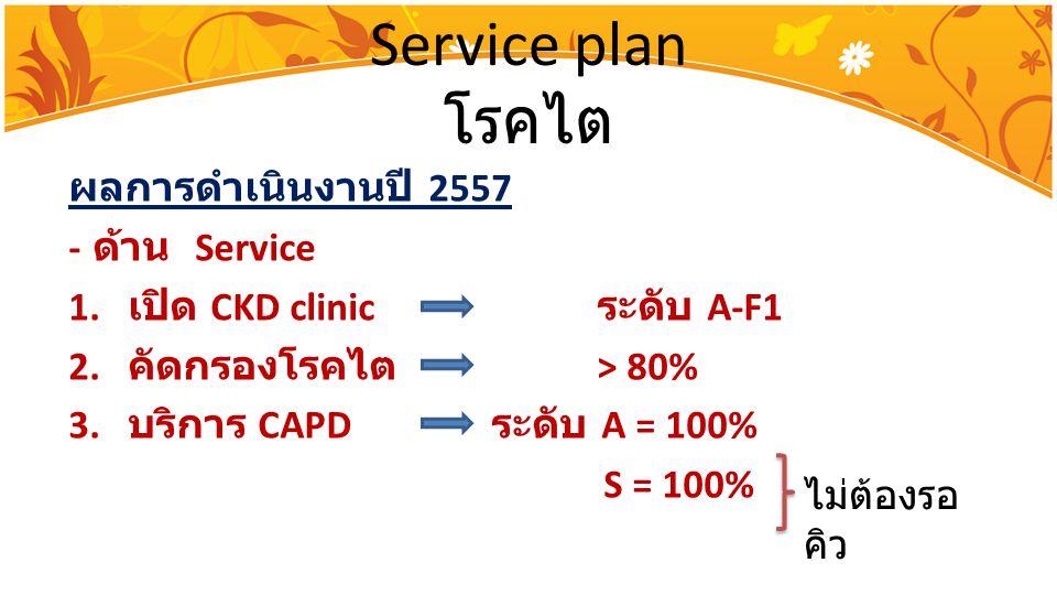 Service plan โรคไต ผลการดำเนินงานปี 2557 - ด้าน Service