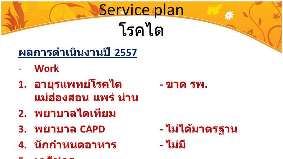 Service plan โรคไต ผลการดำเนินงานปี 2557 Work