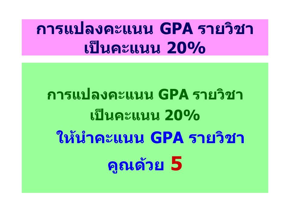 การแปลงคะแนน GPA รายวิชา เป็นคะแนน 20%