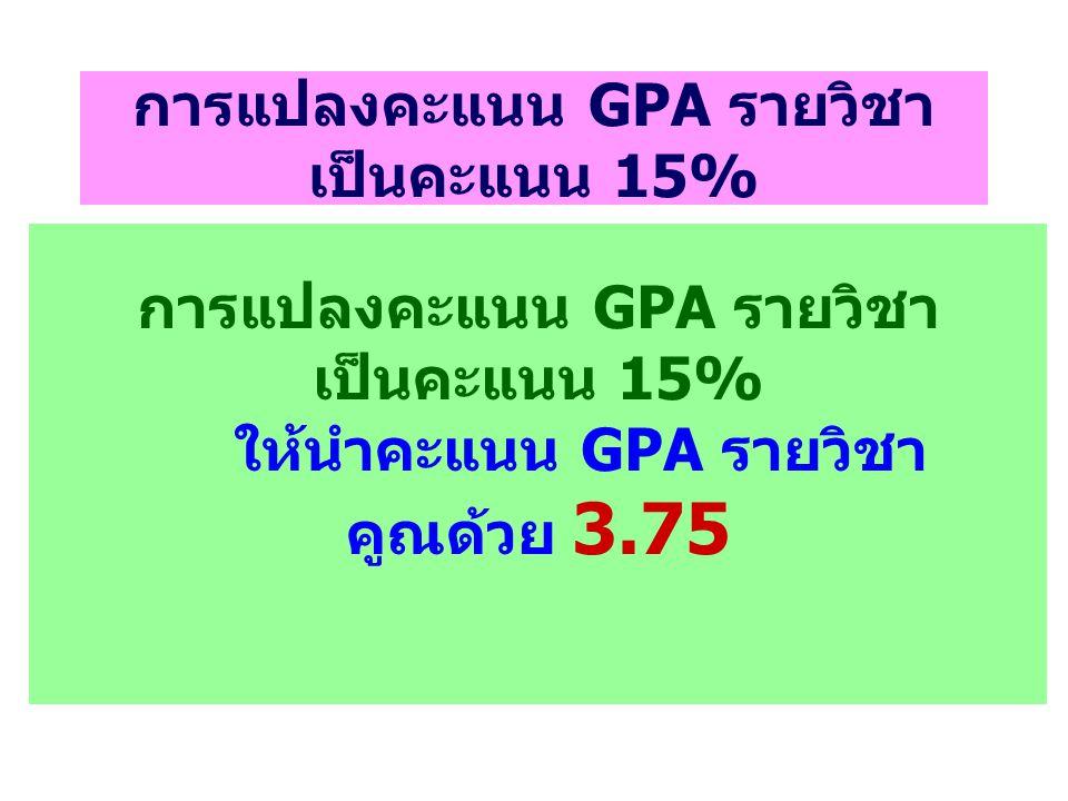 การแปลงคะแนน GPA รายวิชา เป็นคะแนน 15%