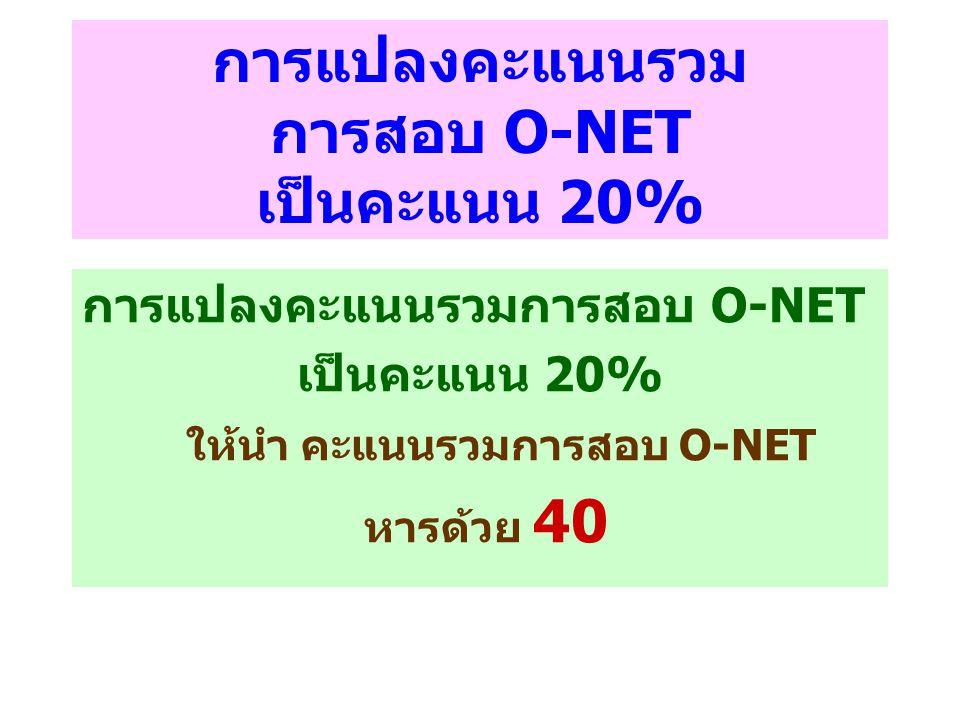 การแปลงคะแนนรวม การสอบ O-NET เป็นคะแนน 20%