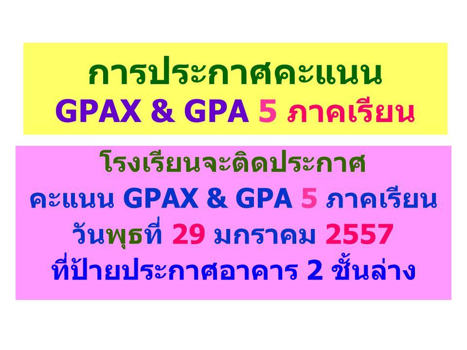 การประกาศคะแนน GPAX & GPA 5 ภาคเรียน