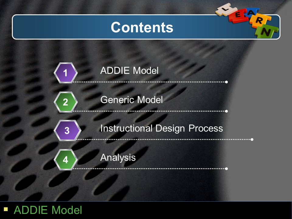 Contents ADDIE Model ADDIE Model 1 Generic Model 2