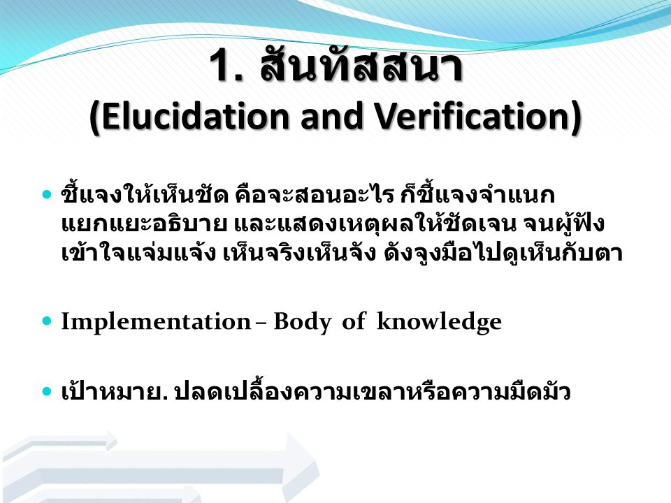 1. สันทัสสนา (Elucidation and Verification)