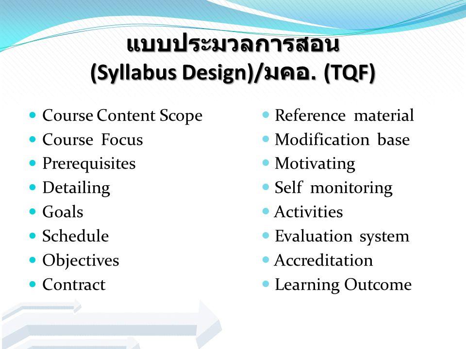 แบบประมวลการสอน (Syllabus Design)/มคอ. (TQF)