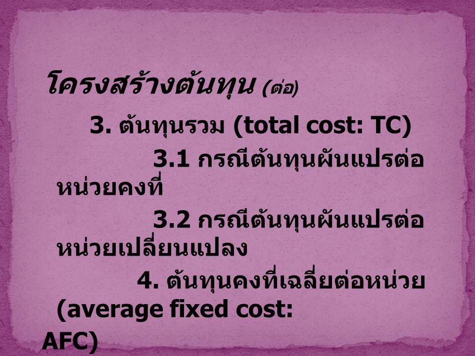 โครงสร้างต้นทุน (ต่อ) 3. ต้นทุนรวม (total cost: TC)