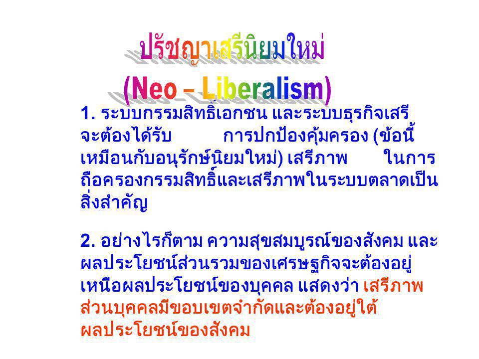 ปรัชญาเสรีนิยมใหม่ (Neo – Liberalism)