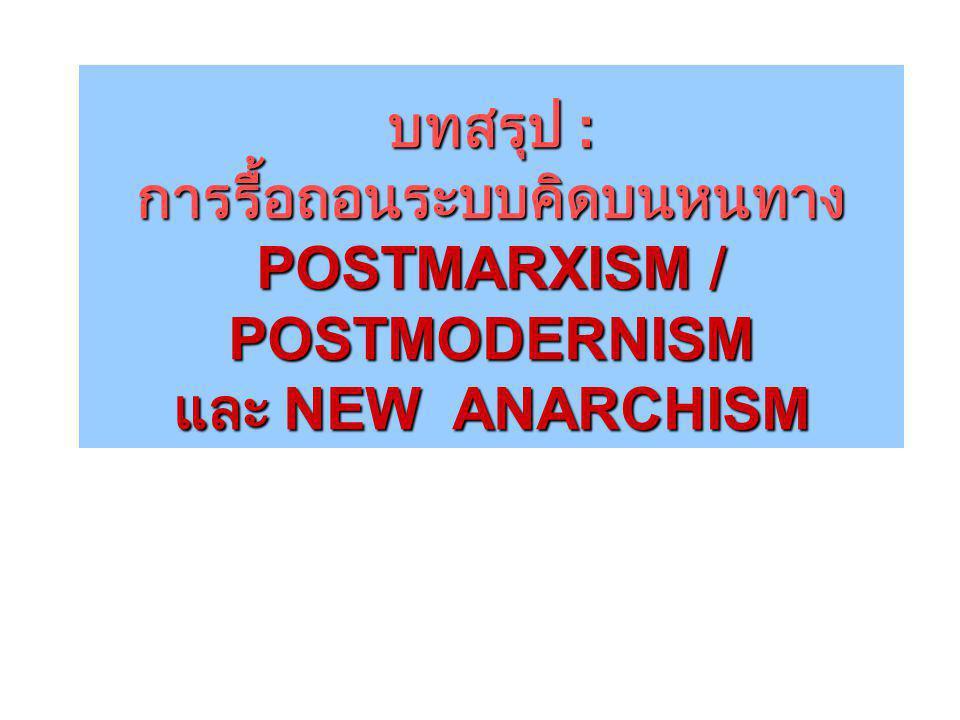 บทสรุป : การรื้อถอนระบบคิดบนหนทาง POSTMARXISM / POSTMODERNISM และ NEW ANARCHISM