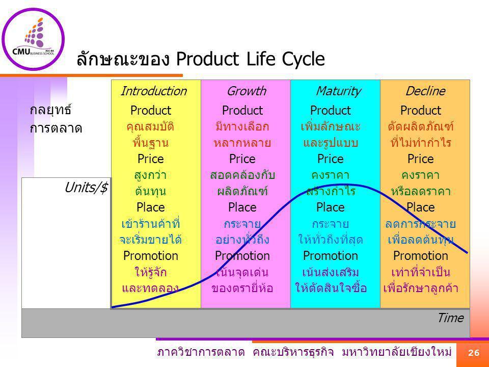 ลักษณะของ Product Life Cycle