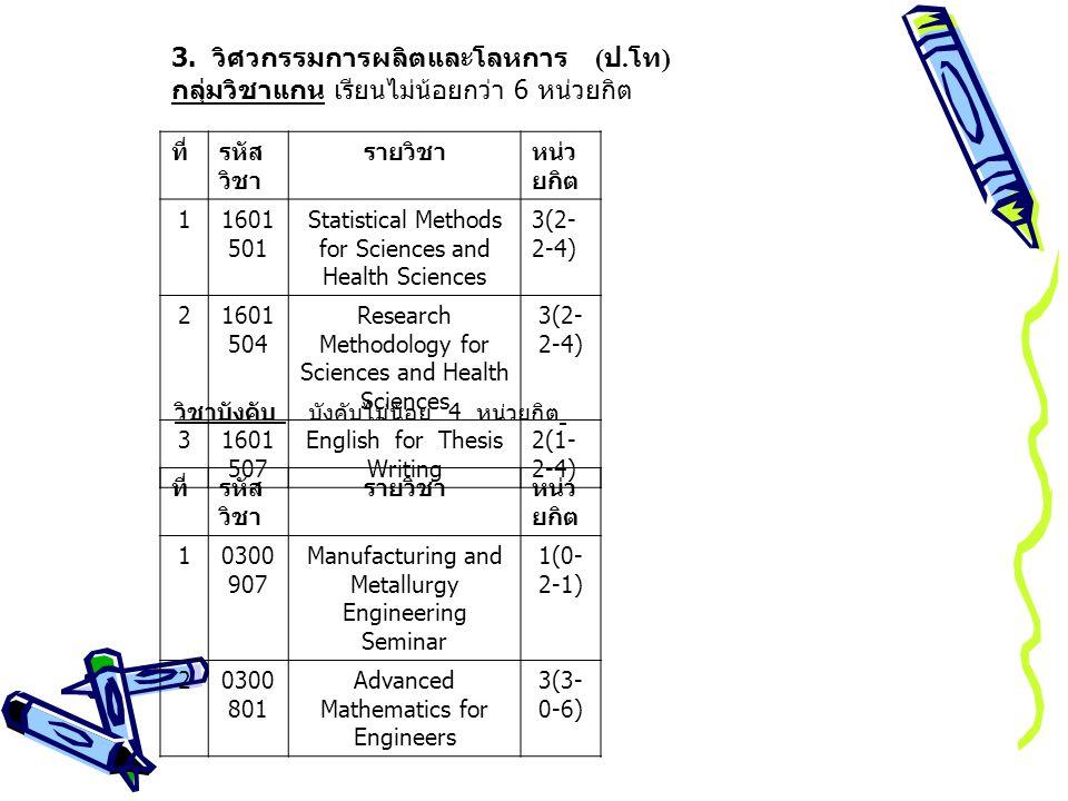 3. วิศวกรรมการผลิตและโลหการ (ป.โท)