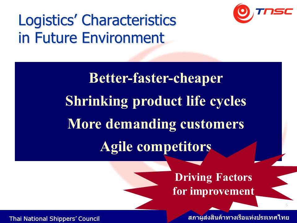 Logistics' Characteristics in Future Environment