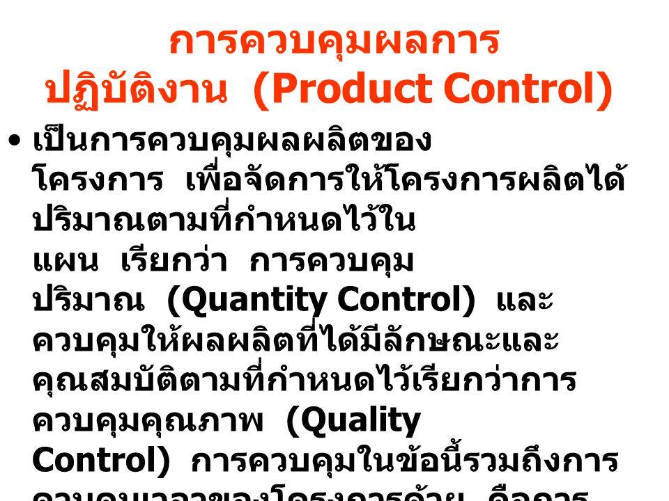 การควบคุมผลการปฏิบัติงาน (Product Control)