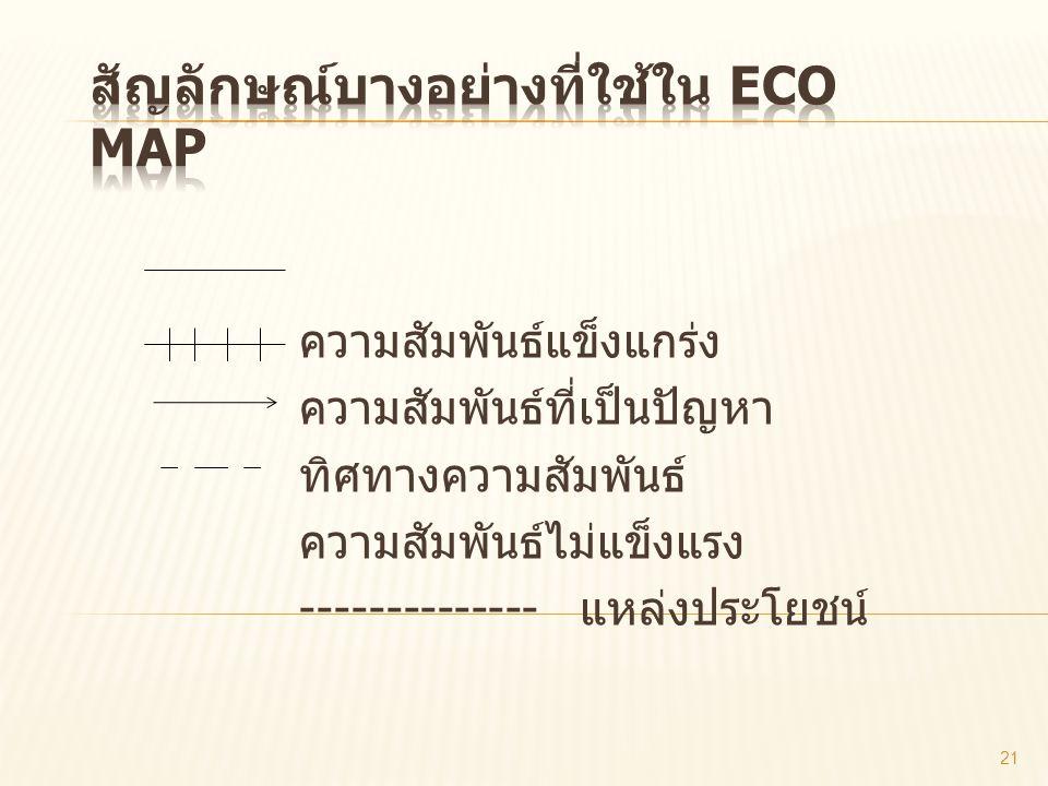 สัญลักษณ์บางอย่างที่ใช้ใน Eco map