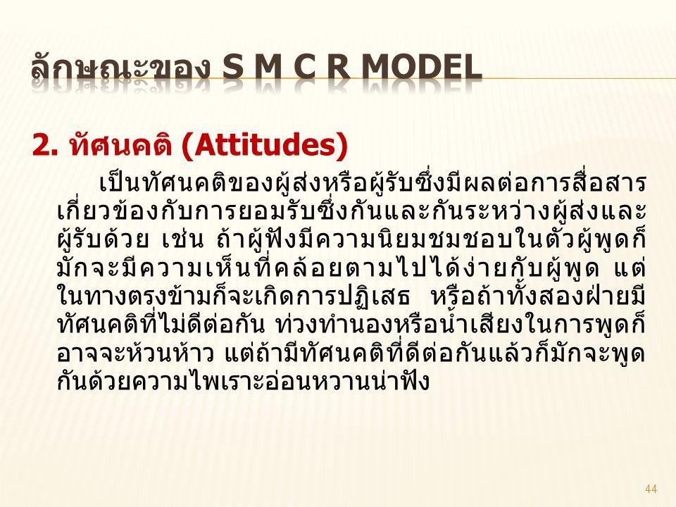 ลักษณะของ S M C R model 2. ทัศนคติ (Attitudes)