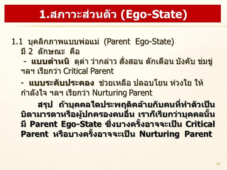 1.สภาวะส่วนตัว (Ego-State)