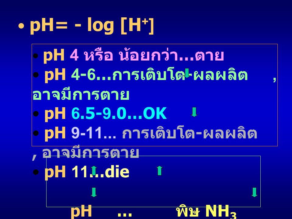 pH 4-6…การเติบโต-ผลผลิต , อาจมีการตาย pH 6.5-9.0…OK