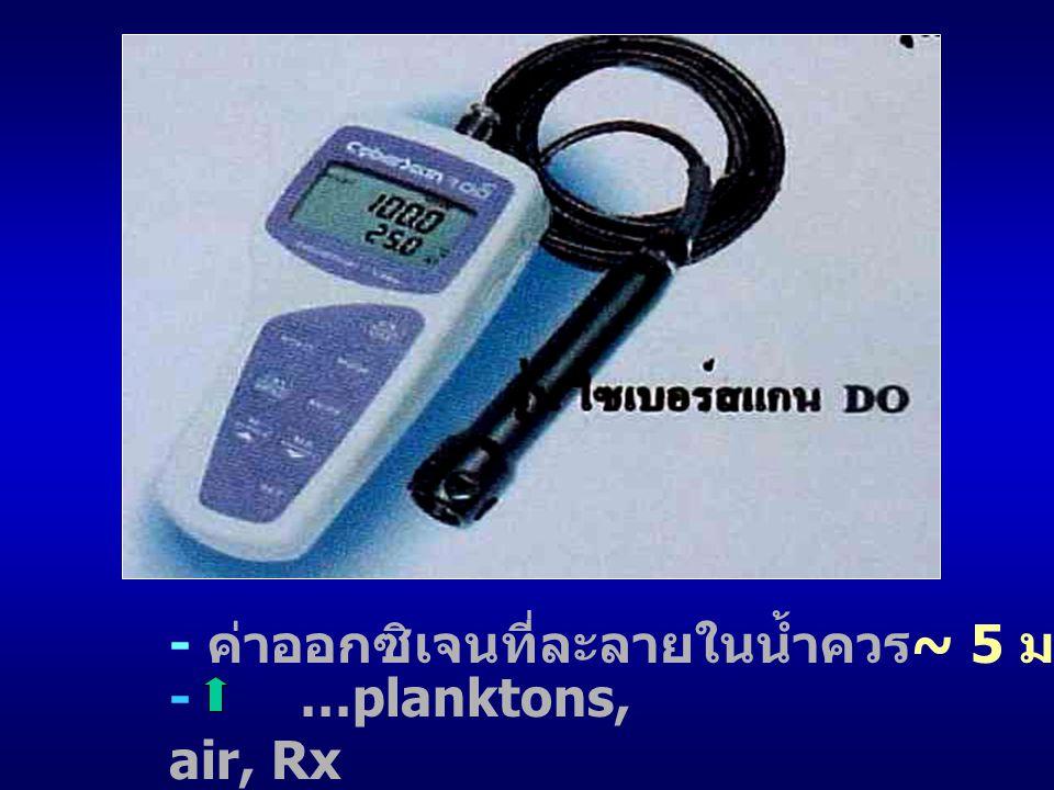 - ค่าออกซิเจนที่ละลายในน้ำควร~ 5 มก/ลิตร (ppm)