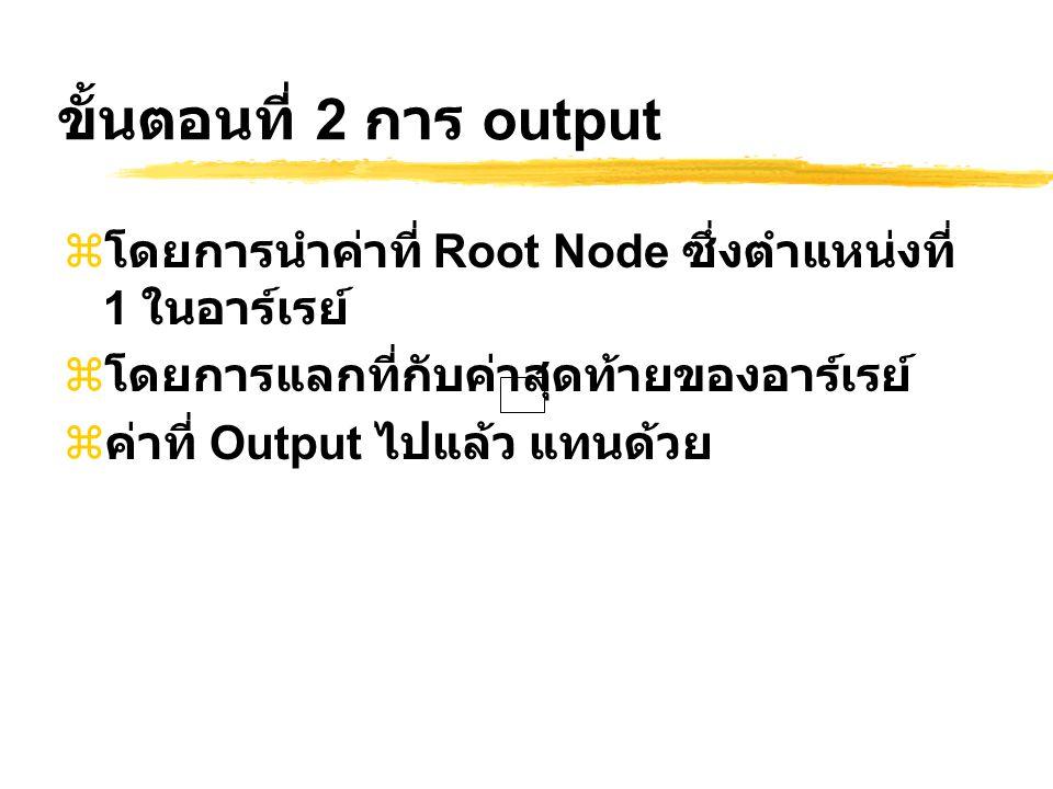 ขั้นตอนที่ 2 การ output โดยการนำค่าที่ Root Node ซึ่งตำแหน่งที่ 1 ในอาร์เรย์ โดยการแลกที่กับค่าสุดท้ายของอาร์เรย์