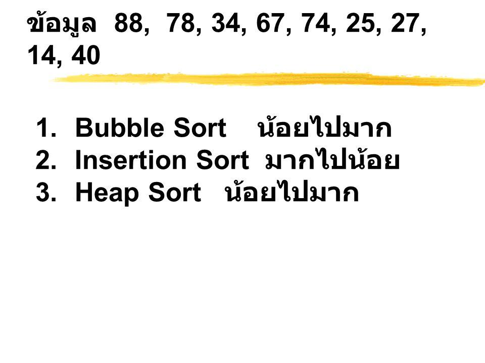 ข้อมูล 88, 78, 34, 67, 74, 25, 27, 14, 40 Bubble Sort น้อยไปมาก.
